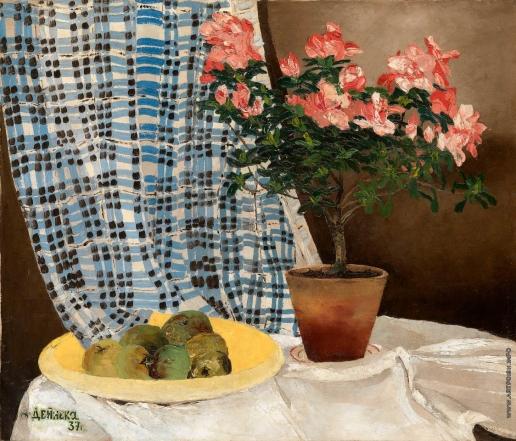 Дейнека А. А. Натюрморт с яблоками и азалией