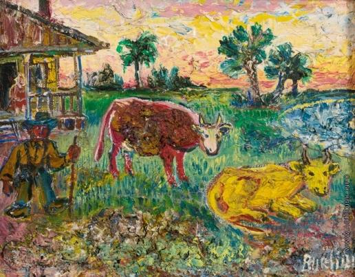 Бурлюк Д. Д. Фермер с двумя коровами