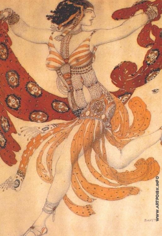 """Бакст Л. С. Эскиз костюма Клеопатры для Иды Рубинштейн к балету """"Клеопатра"""" на музыку А.С.Аренского"""