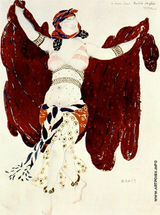 "Бакст Л. С. Эскиз костюма к балету ""Клеопатра"". Сирийская танцовщица"