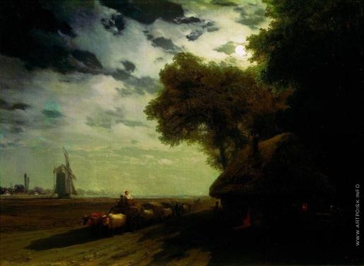 Айвазовский И. К. Украинский пейзаж с чумаками при луне