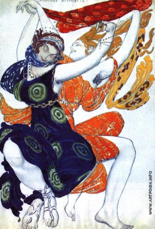 Бакст Л. С. Две беотийки. Эскиз костюмов к балету Н. Н. Черепина «Нарцисс»