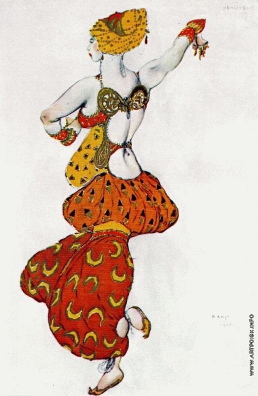 Бакст Л. С. Одалиска. Эскиз костюма к балету 'Шехеразада' на музыку Н.А.Римского-Корсакова
