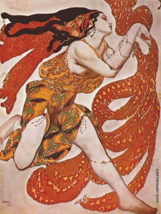 Бакст Л. С. Эскиз костюма к балету Н. Н. Черепнина «Нарцисс» - Вакханка