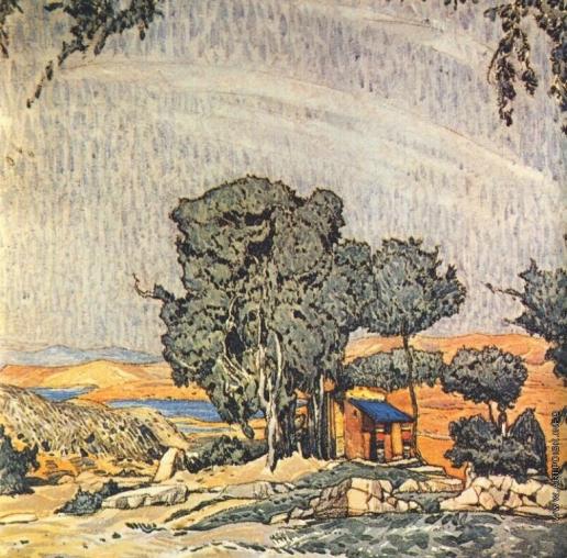 Бакст Л. С. Эскиз декорации к трагедии «Елена в Спарте»