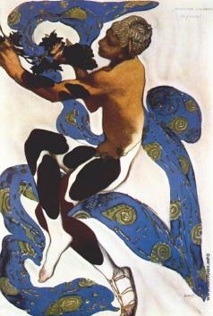"""Бакст Л. С. Эскиз костюма к балету """"Послеполуденный отдых фавна"""". Нижинский в роли Фавна"""