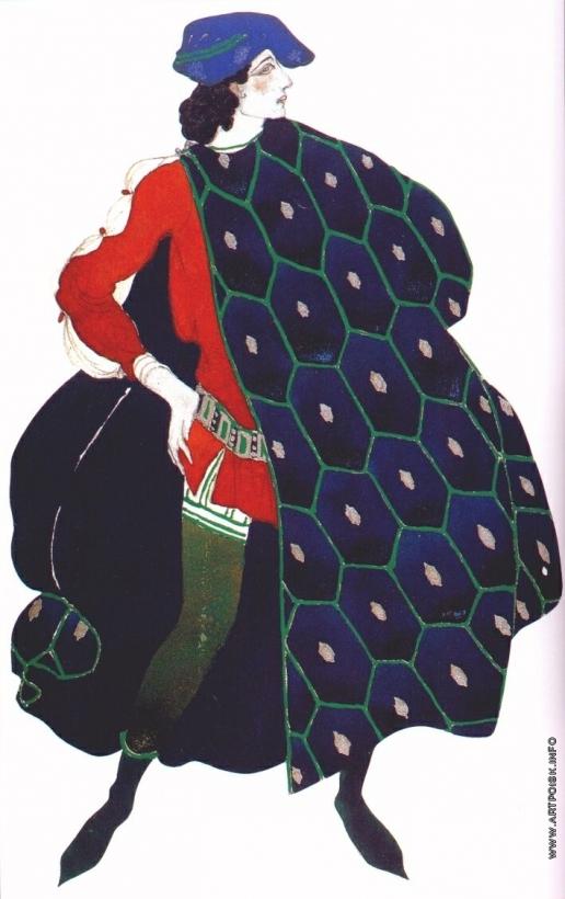 "Бакст Л. С. Эскиз костюма к балету на музыку Дебюсси ""Мученичество святого Себастьяна"". Ида Рубинштейн в роли святого Себастьяна"
