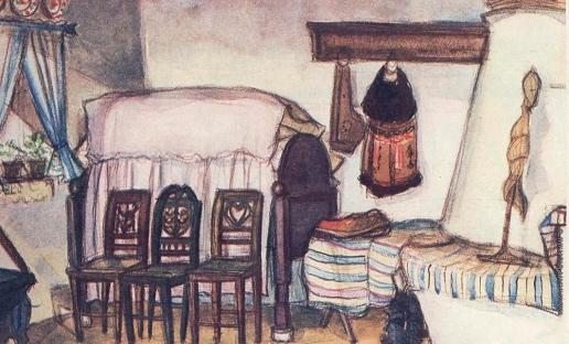 Аралова-Паттерсон В. И. Интерьер в Будапештском музее народного творчества