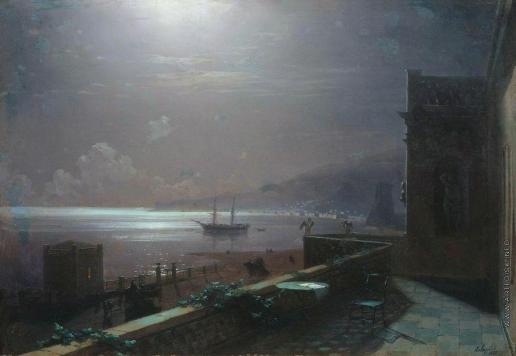 Айвазовский И. К. Феодосия. Лунная ночь. (Вид с балкона дома Айвазовского на море и город)