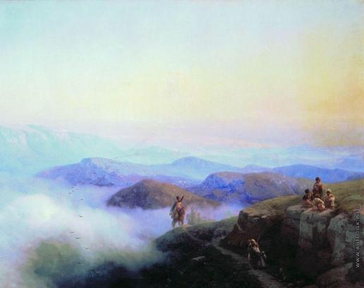 Айвазовский И. К. Цепи Кавказских гор. Вид с Каранайских гор на Темир-Хан-Шуру, на Каспийском море