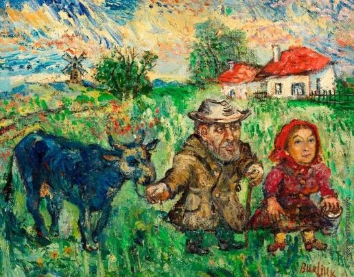 Бурлюк Д. Д. Пожилая пара с коровой