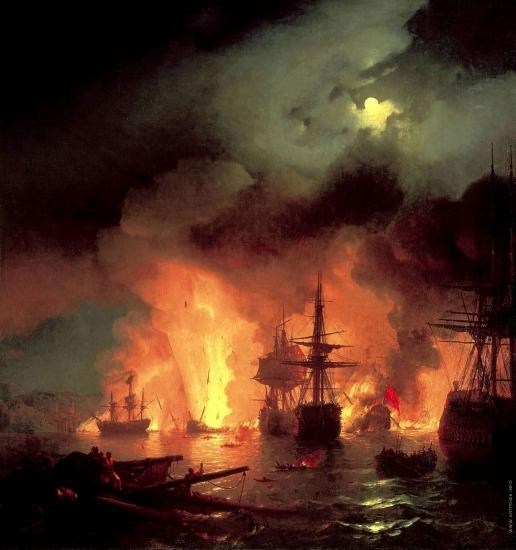 Айвазовский И. К. Чесменский бой в ночь с 25 на 26 июня 1770 года