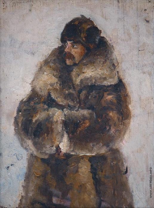 Суриков В. И. А.И. Суриков в шубе. Этюд к картине «Взятие снежного городка»