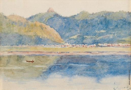 Суриков В. И. Вид с Енисея на долину реки Базаихи
