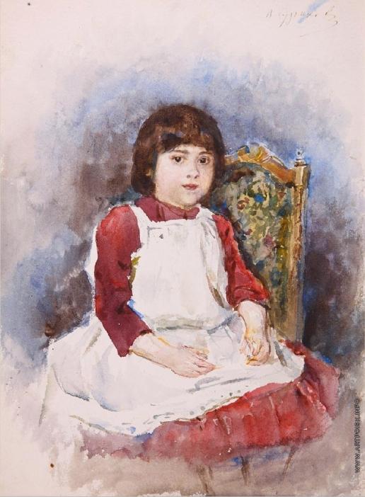 Суриков В. И. Портрет Ольги Суриковой в белом фартуке