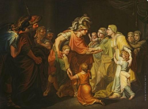 Акимов И. А. Великий князь Святослав, целующий мать и детей своих по возвращении с Дуная в Киев