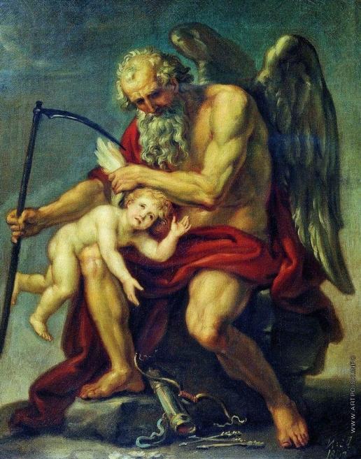 Акимов И. А. Сатурн с косой, сидящий на камне и обрезающий крылья Амуру