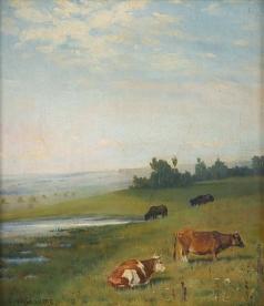 Клодт М. К. Деревенский пейзаж с коровами