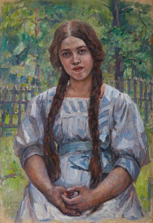 Суриков В. И. евушка с косами. Портрет А.А. Добринской