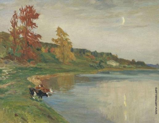 Аладжалов Э. Х. Осень. Коровы у воды