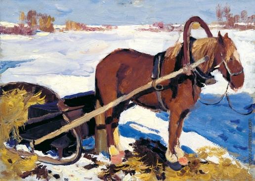 Стожаров В. Ф. Этюд лошади с санями