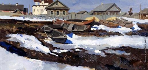 Стожаров В. Ф. Каргополь. Лодки на снегу