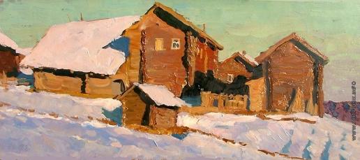 Стожаров В. Ф. Первый снег при вечернем солнце