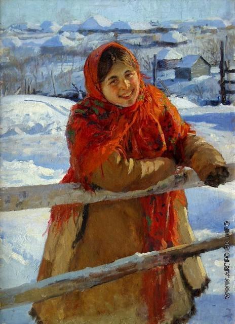 Сычков Ф. В. У изгороди. Зима
