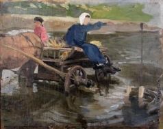 Сычков Ф. В. Переправа на лошадях через реку. Этюд для картины 1906 года «Возвращение с ярмарки»