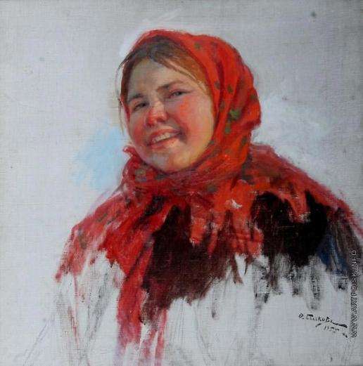 Сычков Ф. В. Девочка в красном платке. Этюд