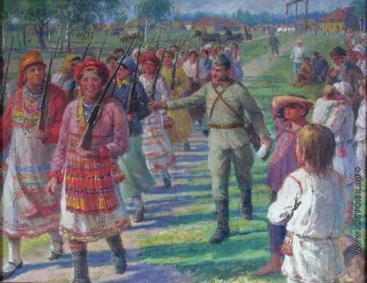 Сычков Ф. В. Эскиз картины «Девушки Мордовской АССР изучают военное дело»
