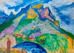 Анисфельд Б. И. Горный пейзаж с пастушкой