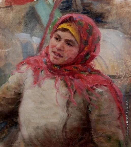 Сычков Ф. В. Портрет женщины в красной шали. Этюд для картины «В фонд обороны»