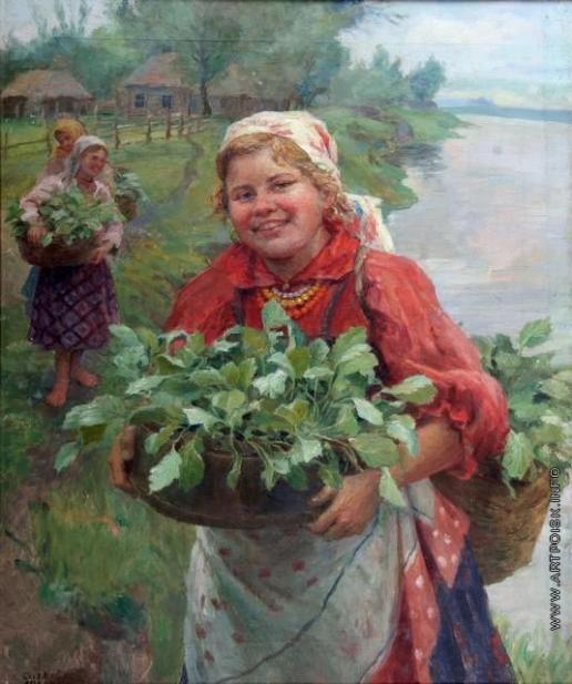 Сычков Ф. В. Девушка с капустной рассадой