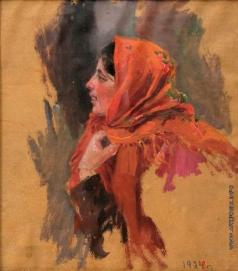Сычков Ф. В. На гулянке. Голова девушки в оранжевом платке. Этюд