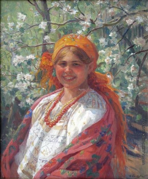 Сычков Ф. В. Девушка в оранжевом платке