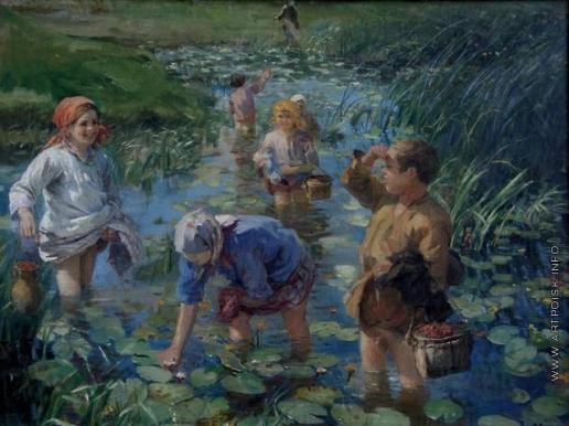 Сычков Ф. В. Переход ребят через болото