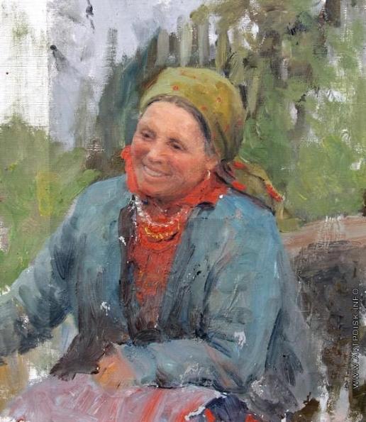 Сычков Ф. В. Женщина в зеленом платке. Этюд для картины «Переезд через болото»