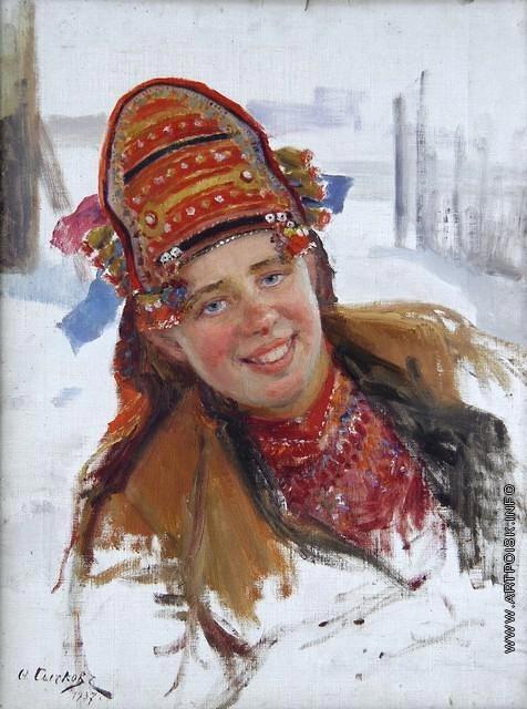 Сычков Ф. В. Голова мордовки. Этюд для картины «Эрзянка»