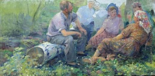 Сычков Ф. В. Эскиз картины «Отдых на полевом стане»