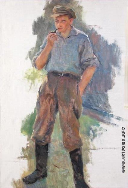 Сычков Ф. В. Мужчина с трубкой. Этюд для картины «Отдых на полевом стане»