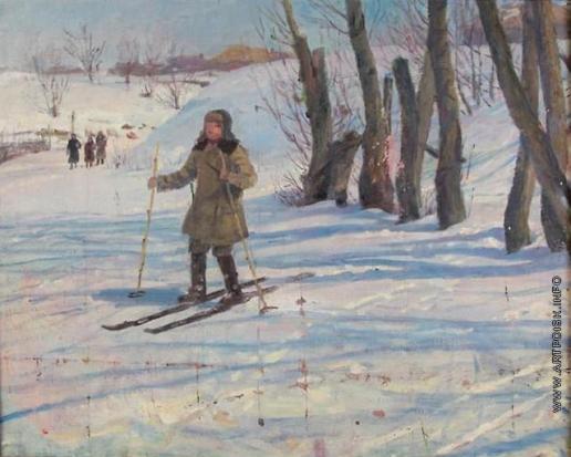 Сычков Ф. В. Зимний день. Этюд для картины «Возвращение из школы»