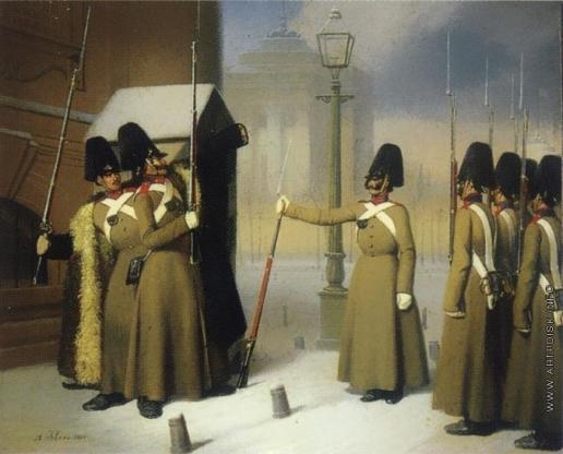 Иебенс А. Смена караула лейб-гвардии Измайловского полка у Зимнего дворца