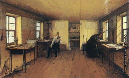 Иванов А. И. Вид мастерской художников Чернецовых на барке, в путешествие их по Волге в 1838 году
