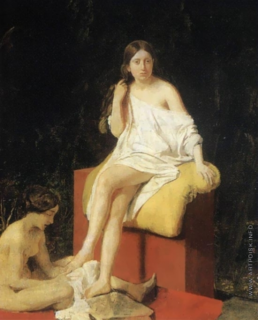Иванов А. А. Две сидящие натурщицы на фоне зелени