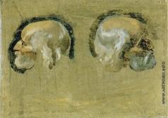 Иванов А. А. Две головы старика, опирающегося на палку (в повороте влево и вправо)