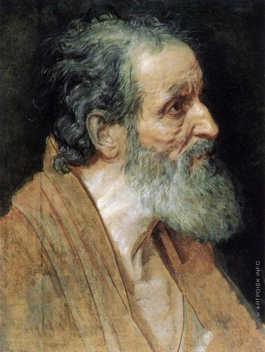Иванов А. А. Полуфигура старика в коричневой одежде (в повороте апостола Андрея)