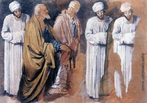 Иванов А. А. Сомневающийся, апостол Андрей и прислушивающийся (группа). Сомневающийся (два варианта)