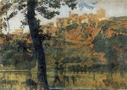 Иванов А. А. Пейзаж с озером и деревьями