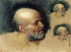 Иванов А. А. Голова старика, опирающегося на палку